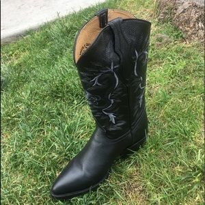 MEN'S WESTERN COWBOY BLACK BOOTS GENUINE LEATHER